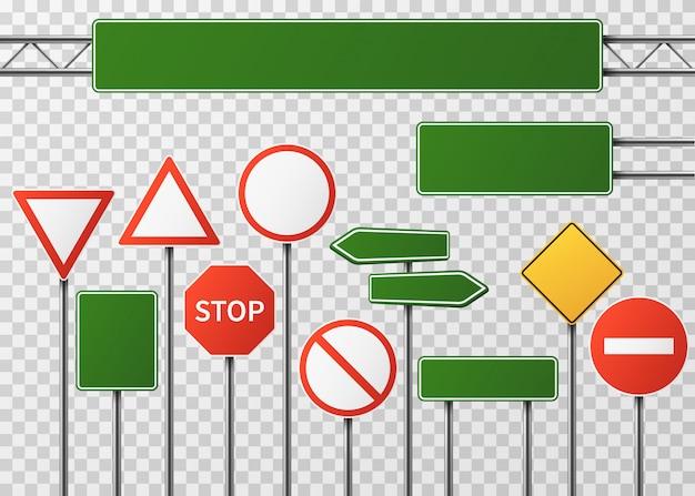 La circulation des rues vierges et des signes de route vector set isolé Vecteur Premium