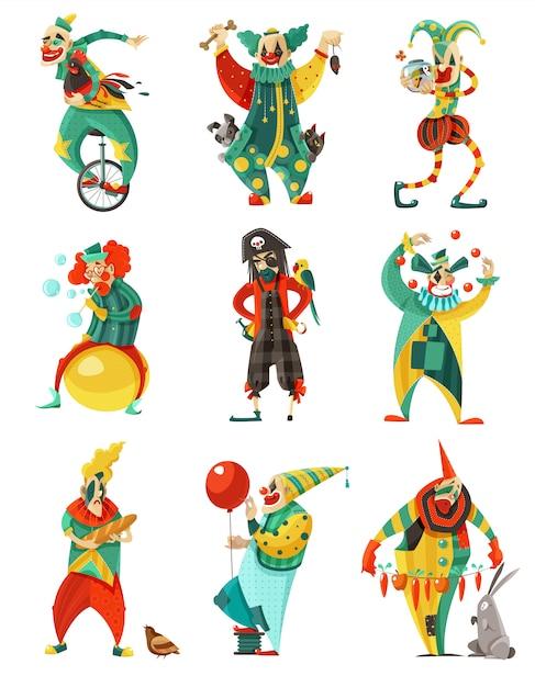 Circus clowns icons set Vecteur gratuit