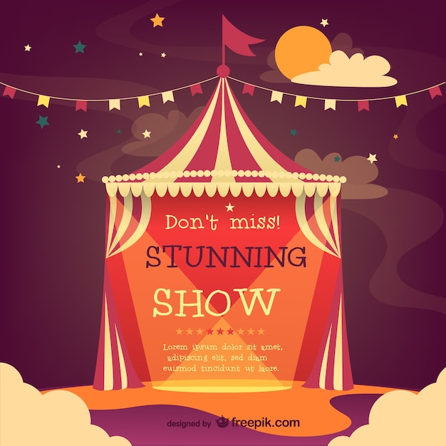 Cirque affiche de vecteur de tente Vecteur gratuit
