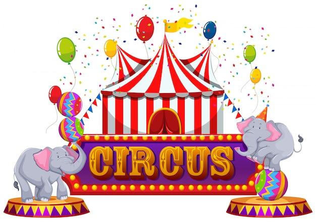 Un cirque amusant et un animal heureux Vecteur Premium