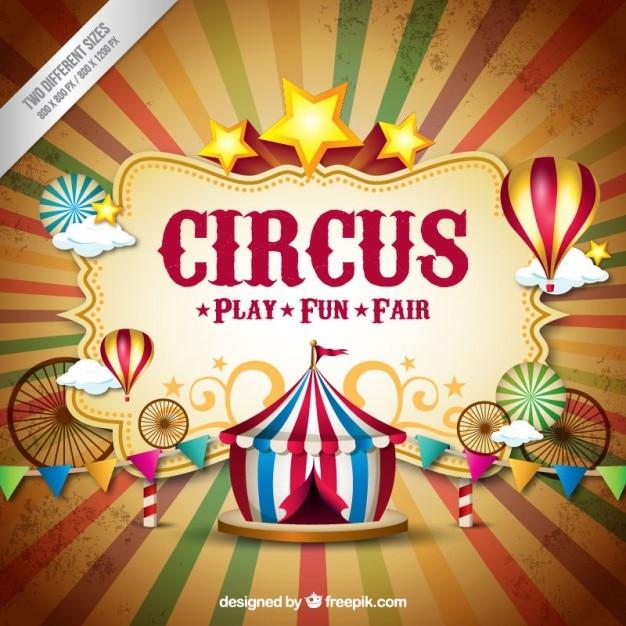 Cirque Backgorund Dans Le Style Vintage Vecteur gratuit