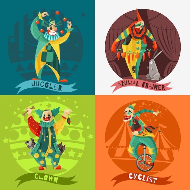 Cirque clowns 4 icons square concept Vecteur gratuit