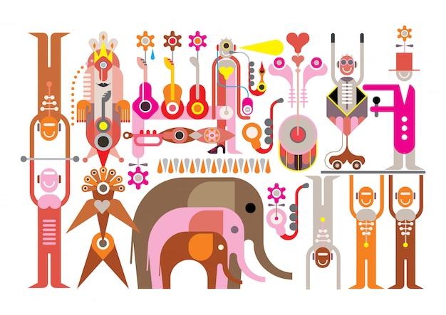 Cirque - illustration vectorielle Vecteur Premium