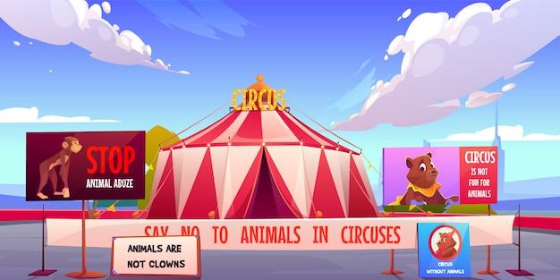 Cirque Sans Animaux, Arrêtez Le Concept D'abus D'animaux Domestiques. Vecteur gratuit