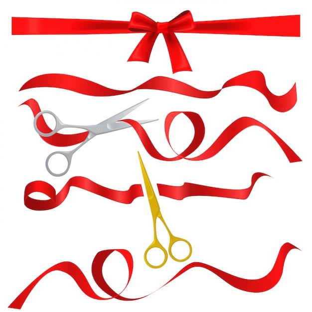 Ciseaux coupant des rubans de soie rouge Vecteur Premium
