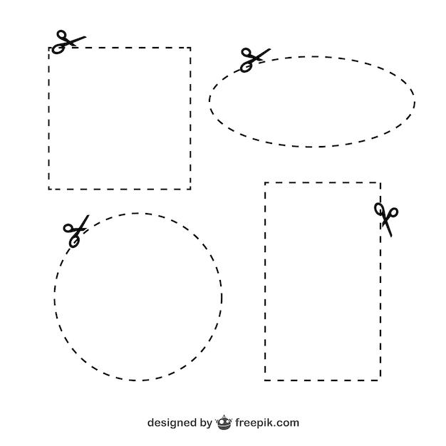 Ciseaux avec cutlines Vecteur gratuit