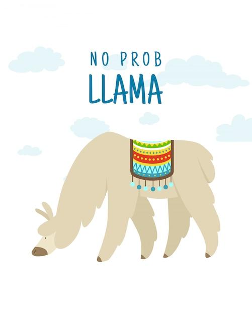 Citation De Lettrage Alpaga Dessin Animé Cool Doodle Avec Aucun Problème Llama. Animal De La Faune Drôle, Lama Cite Vector Illustration Concept. Vecteur Premium