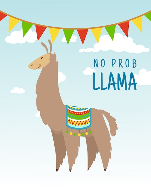 Citation De Lettrage Alpaga Dessin Animé Cool Doodle Avec Aucun Problème Llama Vecteur Premium