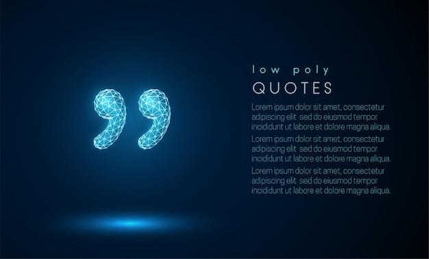 Citations abstraites. design de style low poly. Vecteur Premium