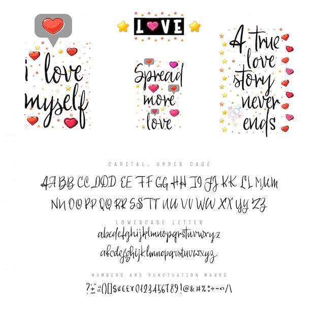 Citations d'amour et script Vecteur Premium