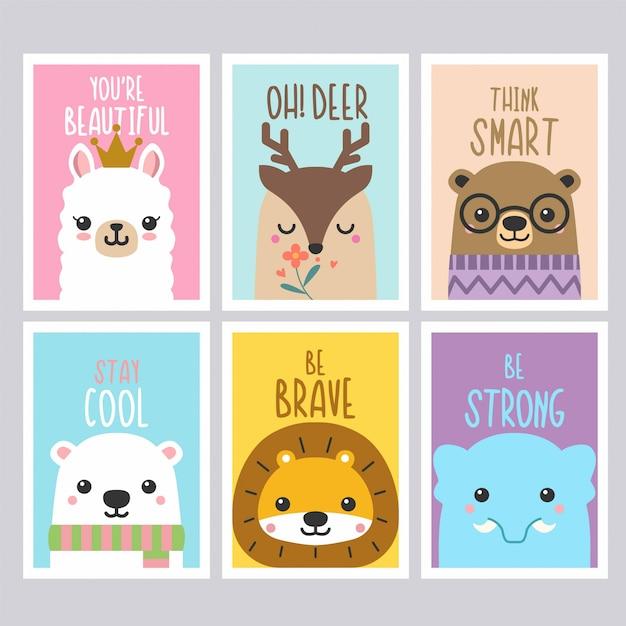 Citations de cartes d'animaux mignons Vecteur Premium
