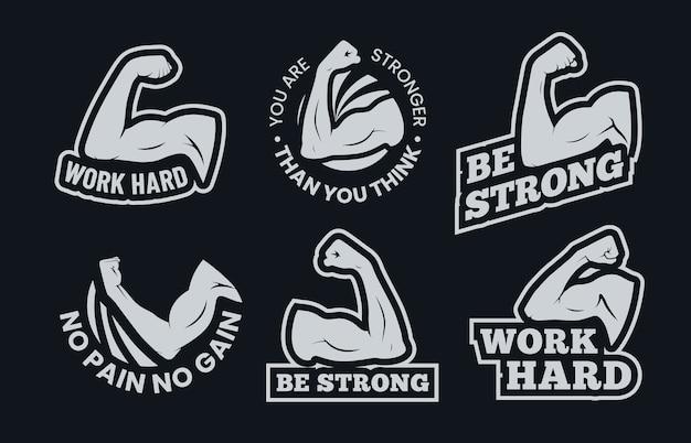 Citations Inspirantes Du Muscle Biceps Puissant. Vecteur Premium
