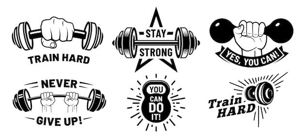 Citations De Motivation De Gym. Fitness Inspirant, Musculation Forte Et Haltère à La Main. Vecteur Premium