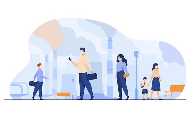 Citoyens Portant Des Masques Pour Se Protéger Du Smog Et De L'air Poussiéreux. Les Gens Qui Marchent Près Des Tuyaux De L'usine Et Des émissions Industrielles. Pour Problème D'environnement, écologie, Coronavirus Vecteur gratuit