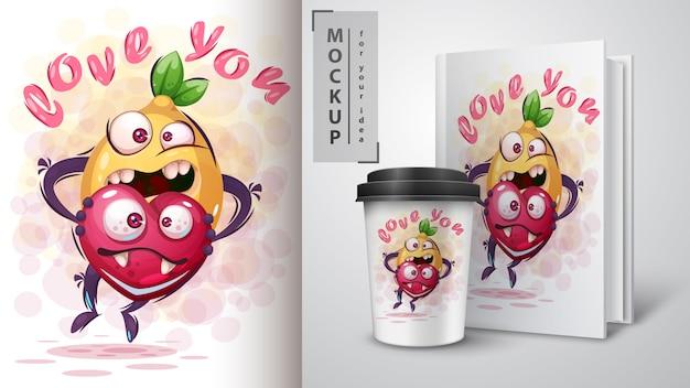 Citron avec coeur affiche et merchandising Vecteur Premium