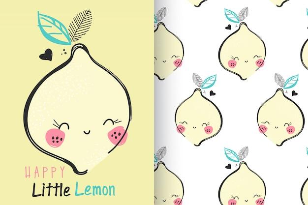 Citron mignon dessiné à la main avec un motif Vecteur Premium