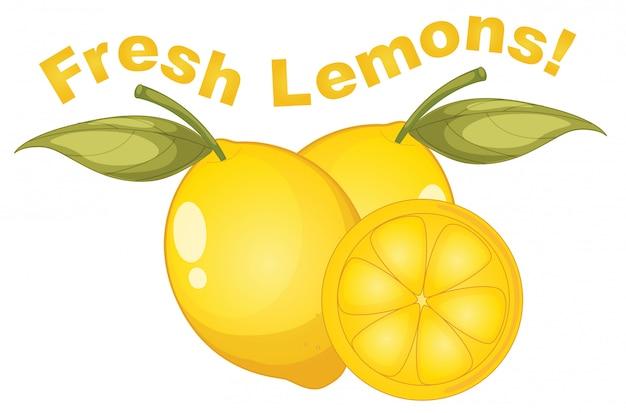 Citrons frais sur fond blanc Vecteur gratuit