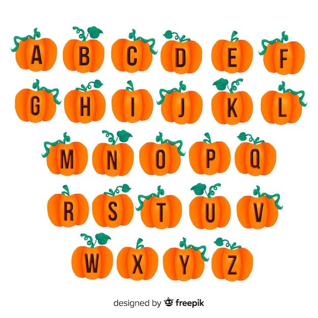 Citrouille d'halloween avec alphabet tige Vecteur gratuit