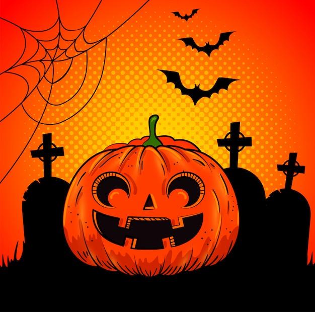 Citrouille d'halloween au cimetière dans un style pop-art Vecteur gratuit