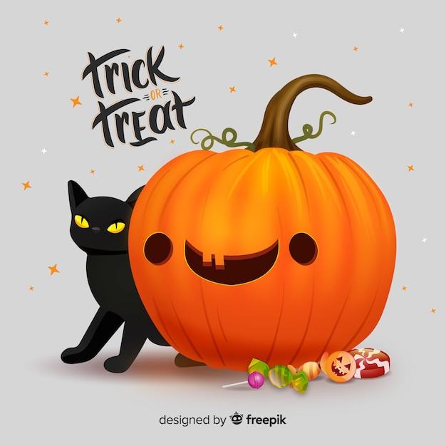 Citrouille d'halloween mignon réaliste avec chat Vecteur gratuit