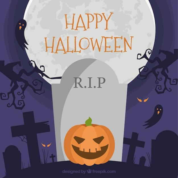La citrouille halloween en plein dans le cimetière Vecteur gratuit