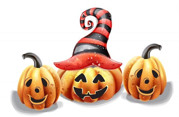 Citrouille d'halloween visages heureux aquarelle. décors de chapeau de sorcière souriant Vecteur Premium