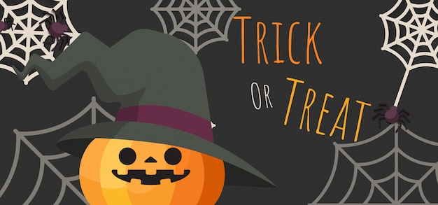 Citrouille jack-o-lantern portant chapeau de sorcière d'halloween en costume d'araignées Vecteur Premium