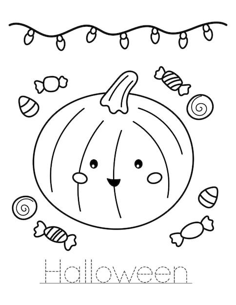 Citrouille Kawaii Mignonne Avec Des Bonbons. écrivez Le Mot Halloween. Coloriage De L'éducation Pour Les Enfants. Vecteur Premium