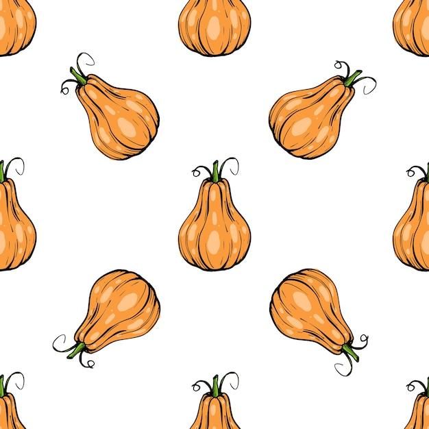 Citrouille Modèle Sans Couture - Courge Pour Halloween Ou Icône De Couleur Plate De Thanksgiving Pour Les Applications Et Les Sites Web Vecteur Premium