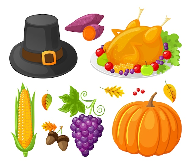 Citrouille thanksgiving day corn icons set vector Vecteur Premium