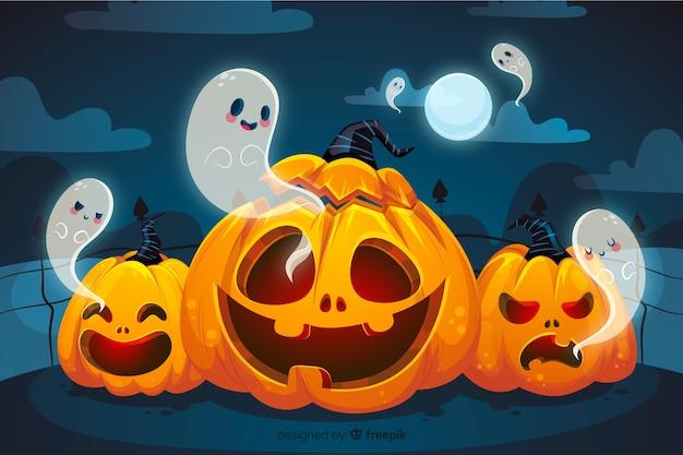Citrouilles courbées et fantômes fond d'halloween Vecteur gratuit