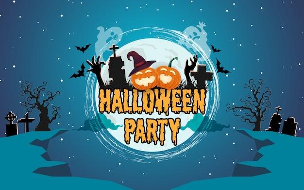 Citrouilles d'halloween avec forêt spooky la nuit Vecteur Premium