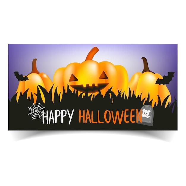 Citrouilles d'halloween heureux. Vecteur Premium