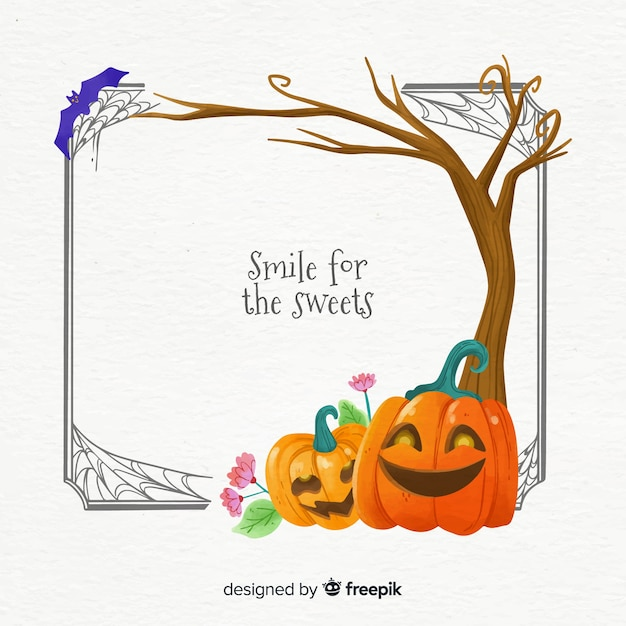 Citrouilles Sous Un Arbre Halloween Vecteur gratuit