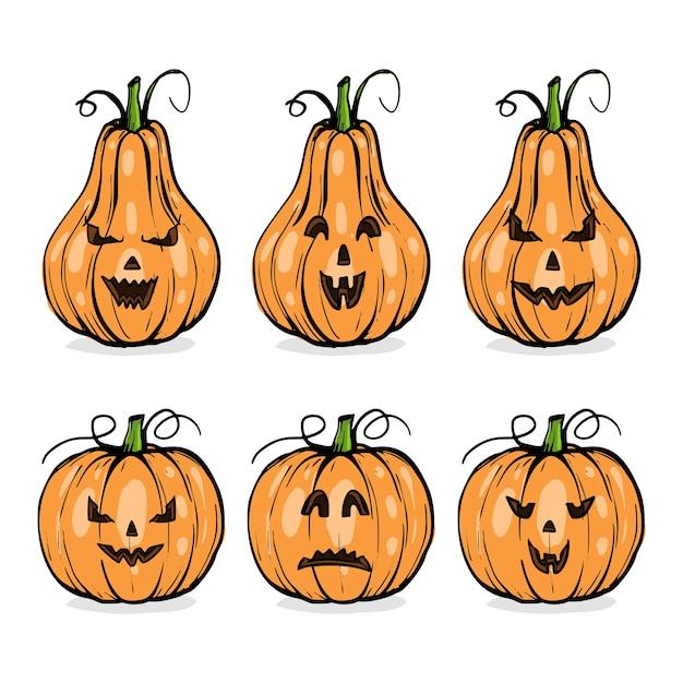 Citrouilles Avec Visages D'halloween, Ensemble D'émotions, Croquis Dessinés à La Main Vecteur Premium