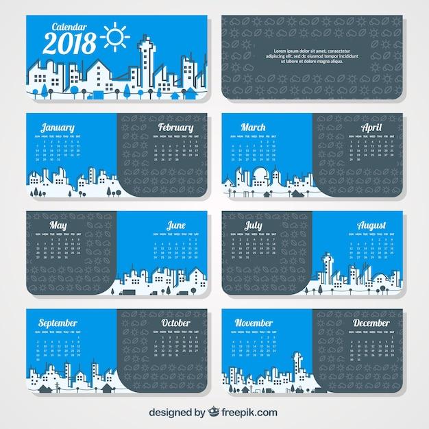Calendrier City.City Croquis Calendrier 2018 Telecharger Des Vecteurs
