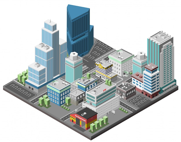 City Downtown Concept Vecteur gratuit