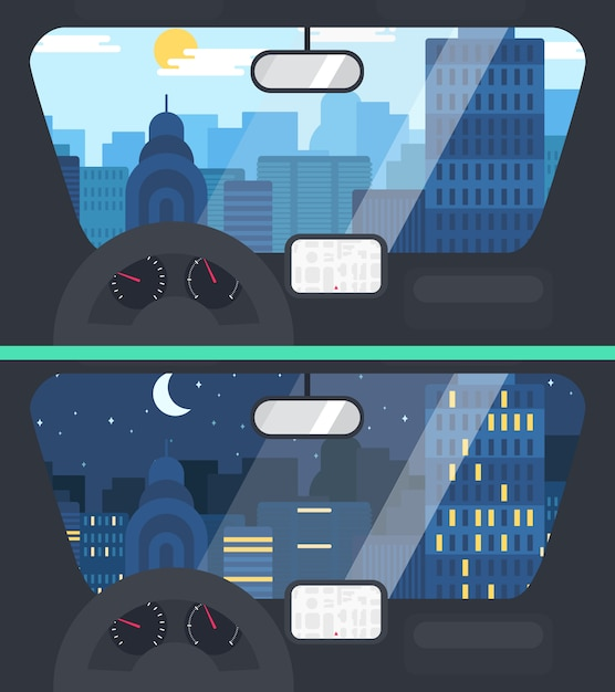 City life from voiture illustration Vecteur Premium