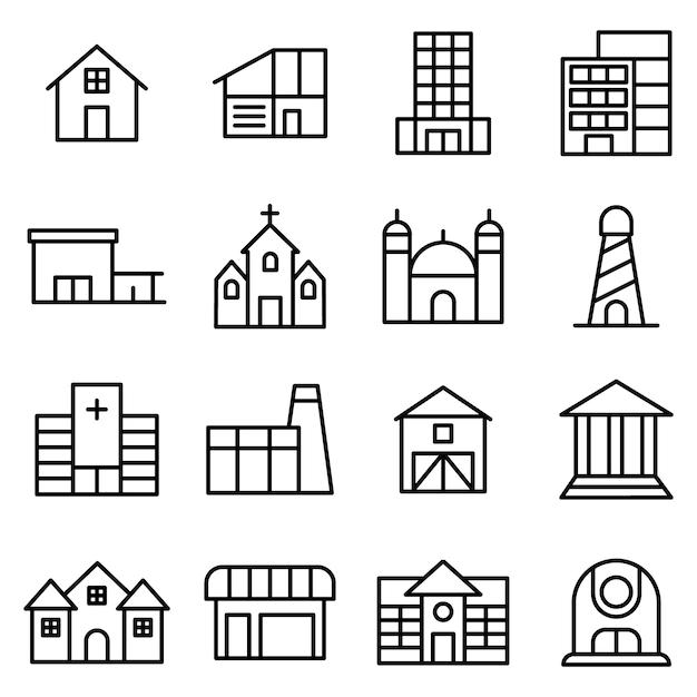 City pack d'icônes de construction, style d'icône de contour Vecteur Premium