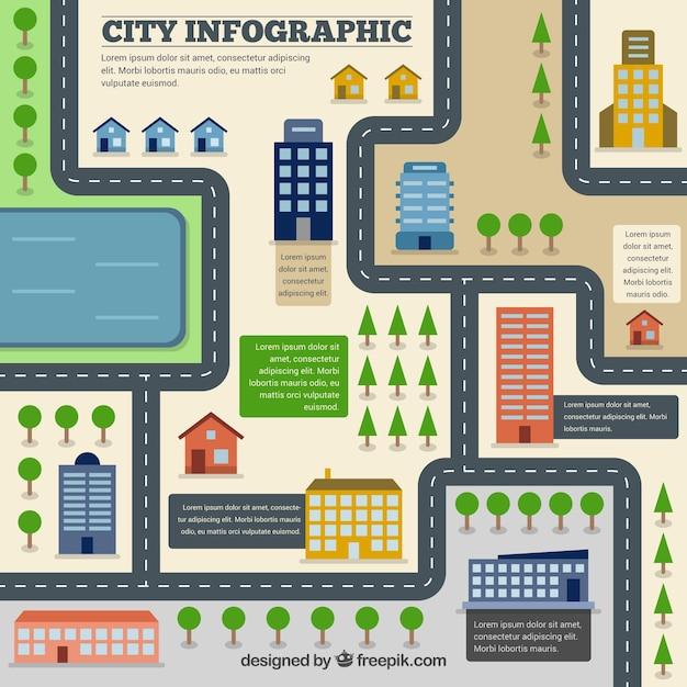 City Road Flat Infographie Vecteur gratuit