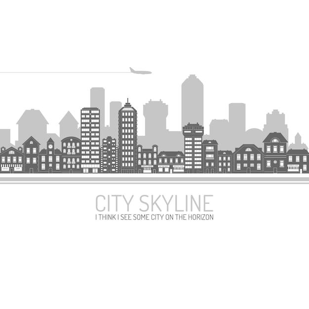 City skyline black Vecteur gratuit