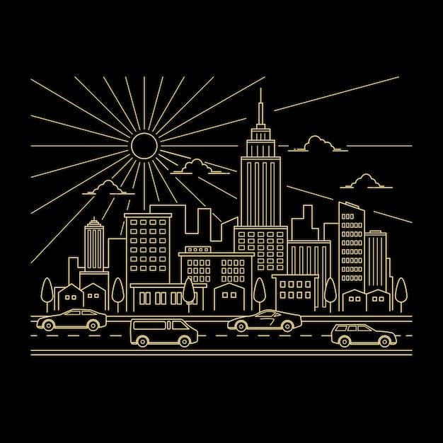 Cityscape design vector style art en ligne Vecteur Premium