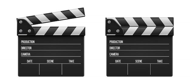 Clap de cinéma, clapet, ardoise de cinéma. Vecteur Premium