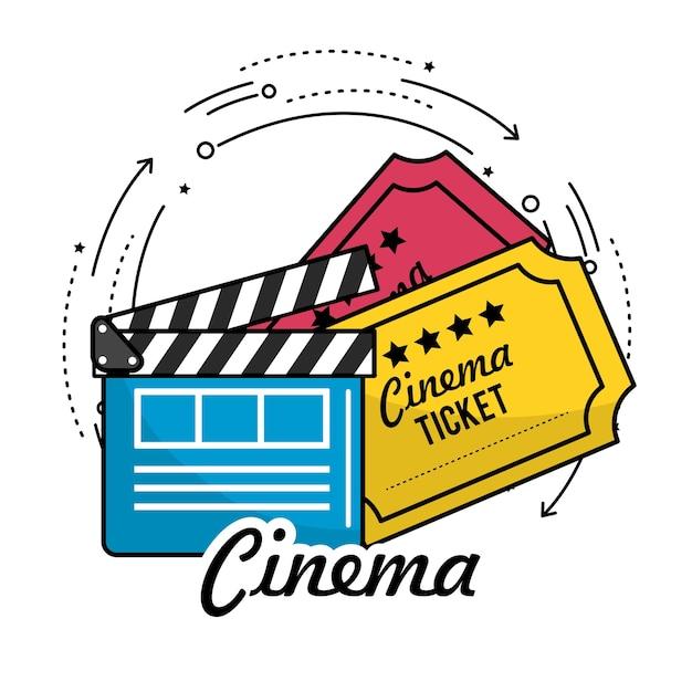 Clap avec une scène de tickets de cinéma Vecteur Premium