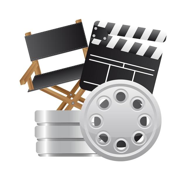 Clapper board avec vecteur de chaise de réalisateur et de film Vecteur Premium