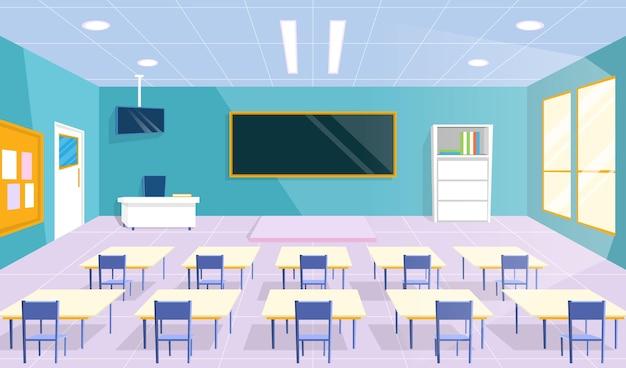 Classe De L'école Vide - Fond Pour La Vidéoconférence Vecteur gratuit