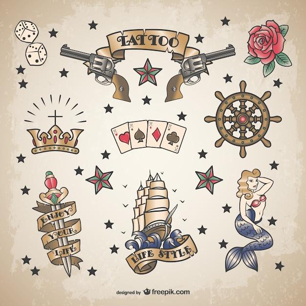 Classique ensemble marin de tatouage Vecteur gratuit