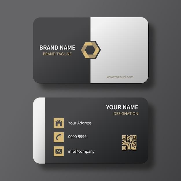 Classy Noir / Blanc Carte De Visite Avec Le Logo D'or Hexagonal Vecteur Premium