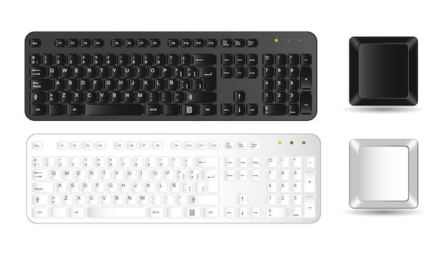 Clavier D'ordinateur Noir Et Blanc Réaliste | Vecteur Premium
