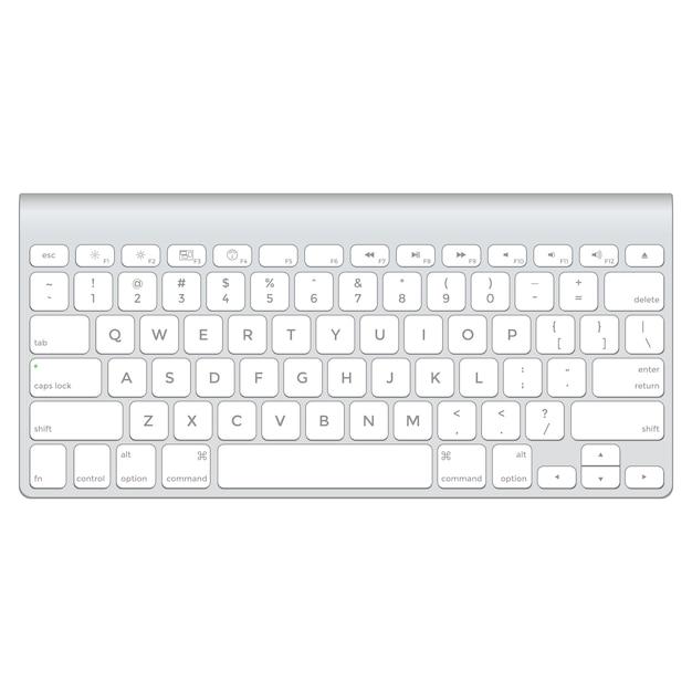 Clavier d'ordinateur vectoriel en aluminium Vecteur Premium